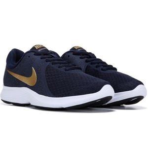 Women's Nike Revolution 4 Gold Navy Blue Sneakers